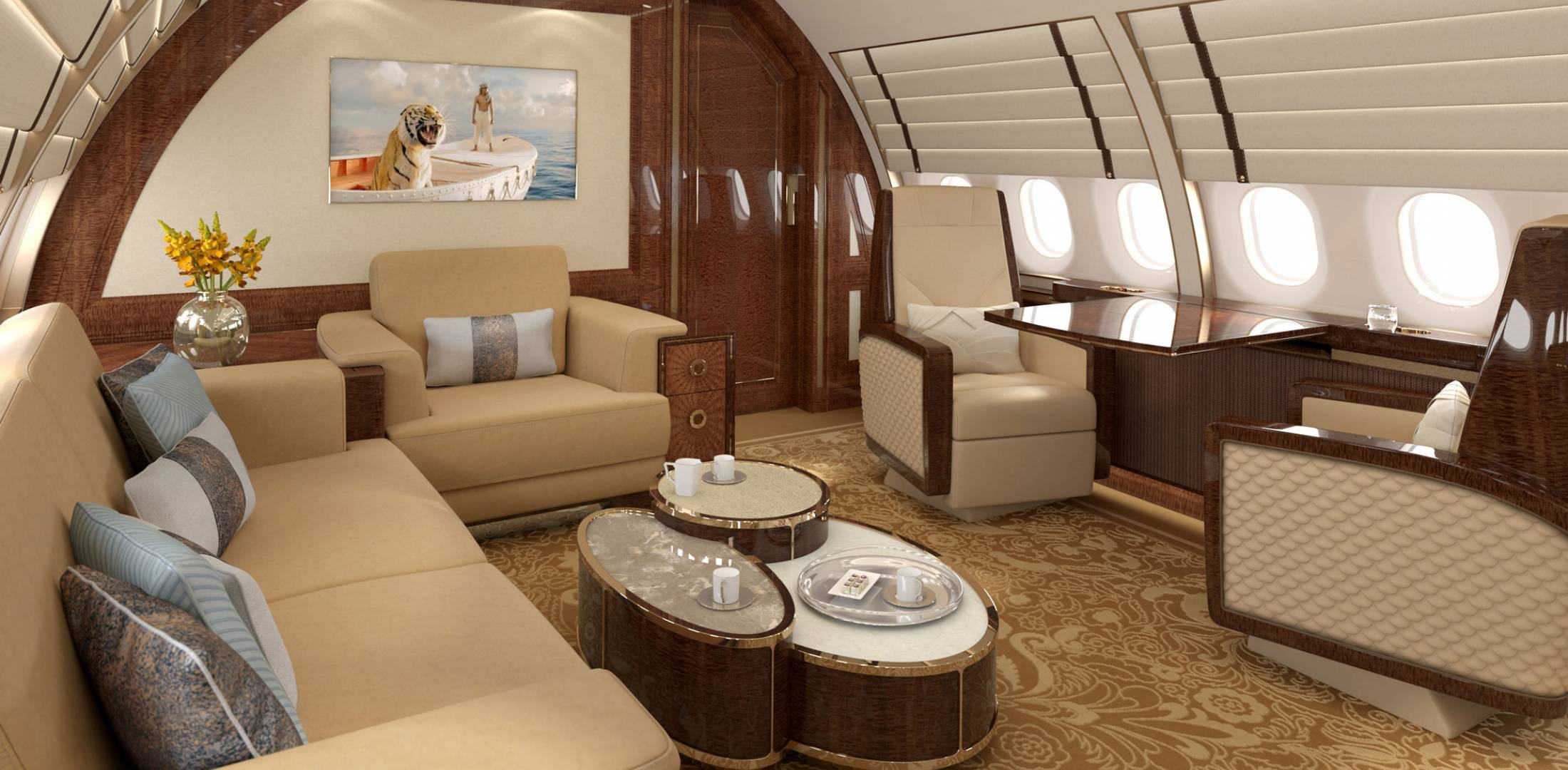 Comlux created a relaxing spacious room in this rendering of an ACJ320neo interior. The company has already delivered two ACJ320neo interiors, one last fall and another this spring. A third will be delivered this fall, and a fourth is in the completion process.
