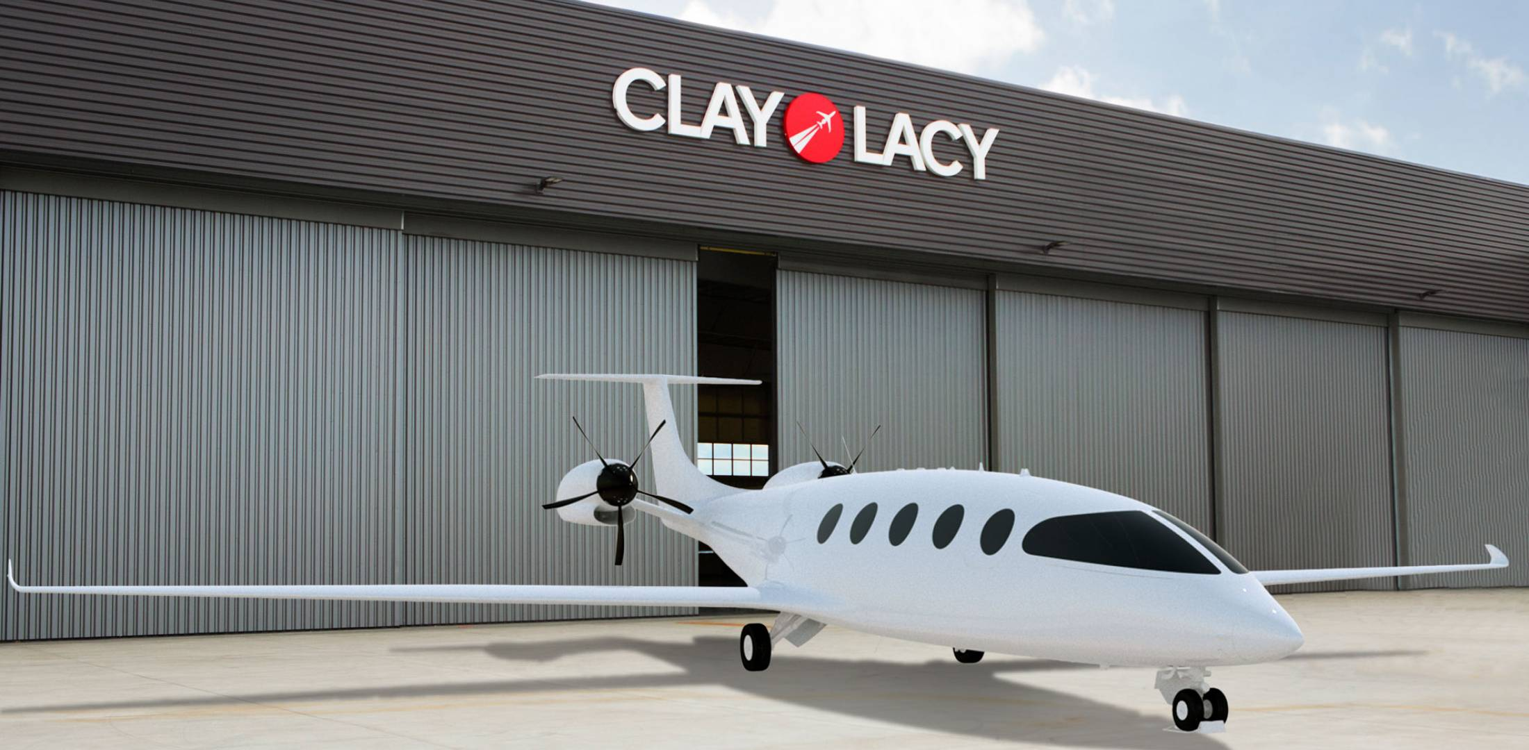 artist rendering of all-electric Alice on the ramp at Clay Lacy Aviation