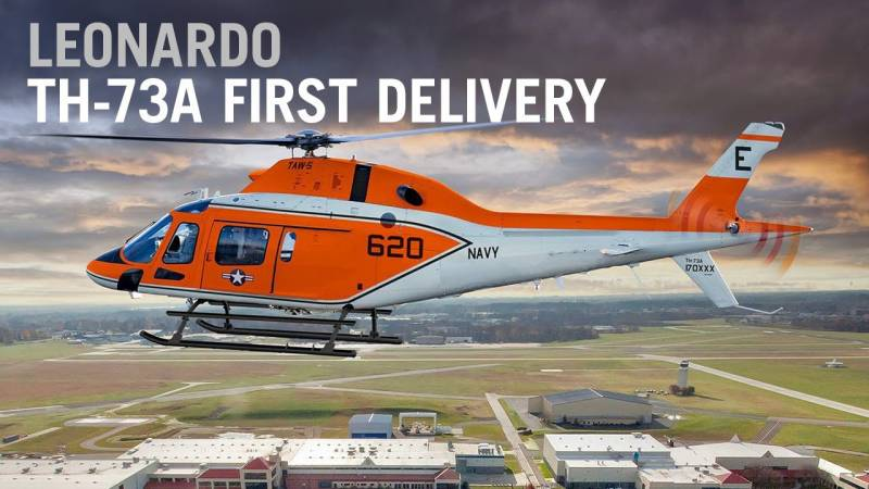 Leonardo Delivers First TH-73A Trainer Helicopter to U.S. Navy